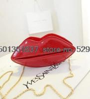 Lip bag patent leather handbag in summer 2015 jelly lip bag holding baodan shoulder diagonal small chain bag