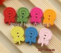 Wood Button. Kawaii lollipop design  wooden buttons, scrapbooking, Wholesale wood button (ss-a4385-a413)
