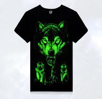 3D wolf luminous T-shirt casual short Metrosexual summer T-shirt  TX-YG5
