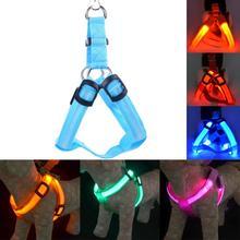LED Nylon Pet Dog Cat Collar Peppy Dog Led Flashing Light Harness Collar Pet Safety Led Leash Rope Belt(China (Mainland))