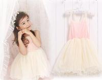 Pink Girl Dress Slip Dress 2015 Summer Children Dress Kids Cotton Lace Dresses 2-6y Girls Clothes Vestidos Meninas
