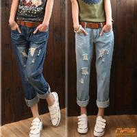 Show thin elastic waist edge haroun pants, nostalgia and feet hole in nine points of jeans