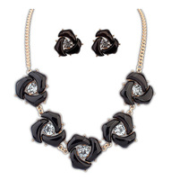 Women Jewelry Sets Bride Accessories boho retro geometric sweet flowers Party Gold Plated Meaning Necklace Earrings SC-128