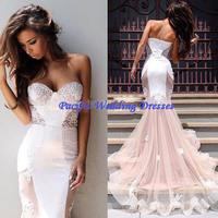 Vestidos Longos Formatura Sexy Sweetheart Applique Lace White Mermaid Prom Dresses 2015 Abendkleider Long Evening Party Dress