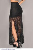 maxi long skirt women saias longas  Black Flower Lace vintage faldas mujer LC71067