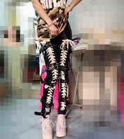 Ds costume dj female singer twirled clothing jazz dance dj punk leather motorcycle trousers