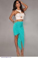 Fashion saias femininas 2014 Asymmetrical Draped Sexy Skirt LC71065 Blue Black Siler Pink faldas