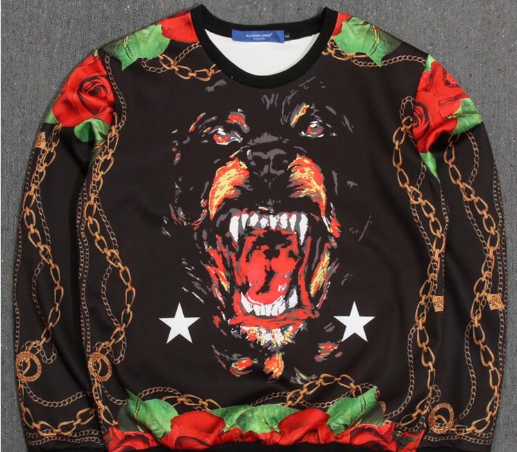 2015 Men Women Hoody Spring Autumn Long Sleeve Casual Sweatshirt Women Spoof Rottweil Sweatshirts(China (Mainland))