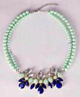 2015 New Fashion Zinc Alloy Women Candy Blue Color Chokers Short Necklaces Graceful Acrylic Rhinestone Bead Bijuterias Necklace