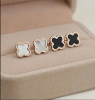 2015 New Designer Natural Shell,18K Rose Gold Plated Titanium Steel Lucky Clover Earrings,Exquisite Crafted For Beautiful Womens