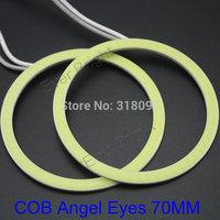 COB! 2Pieces(1pair) Auto Halo Rings COB 70MM Angel Eye COB Chips Car Headlight 70mm Car Angel Eyes Motorcycle White Waterproof
