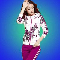 2015 New Women Flower Printed Sweatshirt Woman Tracksuit Sport Set Hoodie Sportswear Free Shipping