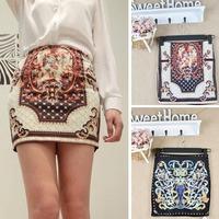 2015 fashion Vintage Boho Print Stretch OL Sexy Slim Pencil Bodycon Tight Mini Skirt sexy short skirt