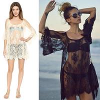 2015 Sexy Lace Dress Floral Casual White Strap Off Shoulder Women Summer Beach Dresses Vestido praia Femininos Beach Wear dress