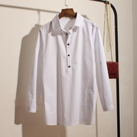 Hot-Selling Spring Pullovrs Temperament Solid Whit Color Cotton Women Shirts Blouses  Korean Free Shipping