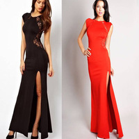 Sexy Women Fashion Lace & Knitting Patchwork Back Waist Hollow Out Solid Black Slim Side Slit Open lace Long Dress ankle-length