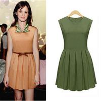 2015 Brand fashion clothes women casual sleeveless pleated dress sleeveless elegant work office dress green/ pink M/L/XL