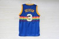 Newest #3 Allen Iverson Men's Denver Rainbow Style Blue Color Stitched Basketball Jerseys,Wholesale Cheap & Top Quality