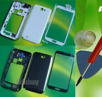 White/Grey Original Housing Cover Case+Outer Screen Glass Lens For Samsung Galaxy Note II 2 GT-N7100 With Tools+Free Shipping