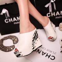 New rivets high heel sandals wedges sandals leopard print all-match comfortable high heel platform sandals women high heels