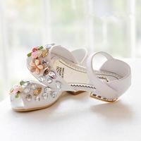 Luxury shoes 2015 summer new fashion sweet princess flower Kids Children's shoes Girls sandal rhinestone sandals fish head
