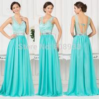 Elegant Turquoise V-neck Long Sequin Prom Dress Chiffon Floor Length Lace Formal Evening Dress 2015 Wedding Party Dress CL007538