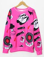 Lazy oaf HARAJUKU loose bf long-sleeve pullover space cotton cartoon sweatshirt Women baseball uniform