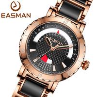 EASMAN Women Ceramic Watch Function Date Bracelet White Quartz Watch Rose Gold Fashion Casual Watches Clock Women Wristwatches