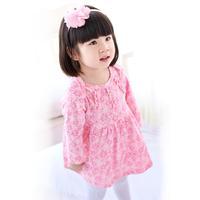 2015 baby dress, baby skirt spring new , long-sleeved cotton dress Girls