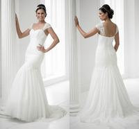 Vintage Vestido De Novia Mermaid Chiffon Lace Bridal Gowns 2015 Hot Sale Cheap Wedding Dresses Fast Shipping Robe De Mariage