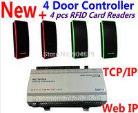 4 pcs RFID EM ID Card Reader+ Access Controller 4 Door Web IP Control Terminals+TCP/IP software+50,000 User Support 20,0000 reco