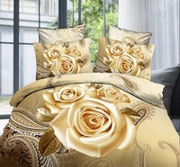 cotton/polyester 4pcs bedding set beige rose flower 3d bedding sets bedspread/duvet cover/sheets/bed linen 3d fashion bed set