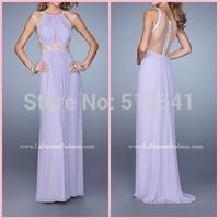 2015 Sexy O-Neck Pleated Floor Length Illusion Back Chiffon Prom Dress Sexy Long Evening Dress vestido de festa longo LFM  21145