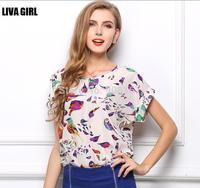 2015 Free Shipping New fashion Women Chiffon blouse Lady Plus Loose Short Sleeve Top Blusas Hot Sale
