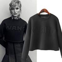 2015 New Spring Women Sport Tops Shirts Printed Sweatshirts Hoodie Retro Letter Long Sleeved T shirt Camisetas Black