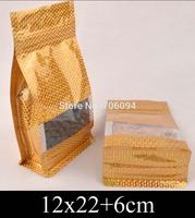 12*22+6cm Standup gold ziplock plastic bag,golden Ziplock flat bottom bellow pocket bag window plastic packing bag,150pcs/lot