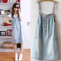 2015 summer new Korean yards loose denim strap dress casual denim dress child student Dress