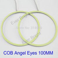 COB Angel Eyes 100mm!! 2Pieces(1pair) Auto Halo Rings COB 100MM Angel Eye Car Headlight Motorcycle White Super Bright 12V Led