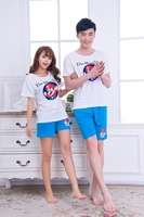 2015 new summer Short-sleeved cotton knit pajamas  Cartoon lovely couple housewear