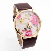 Top Quality Wholesale Geneva Leather Strape Flower Design Quartz Watch Women Men Wristwatches GO119