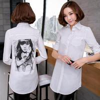 White Shirt , Original Design Slim Medium-Long Plus Size all-Match Cotton Sweet Blouse Female Free Shipping