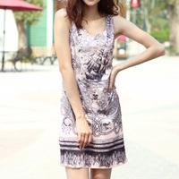 2015 summer fashion plus size clothing skull print one-piece dress sleeveless tank dress