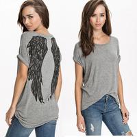 HDY Plus Size New 2015 Spring Angel Wings Pattern Casual Blouse Women Short Sleeve Spring Summer Loose t Shirt  Blusas Feminina