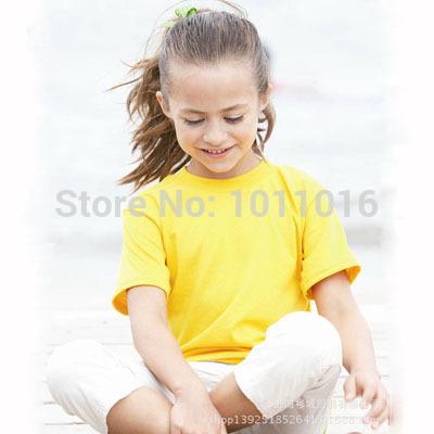 XS - XL 100% Organic Cotton Children's Top Clothes O-Neck Short Sleeve Kids Plain Casual T Shirts 13 Colors Blank 110-150 Tshirt(China (Mainland))