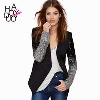 Patchwork PU V-neck silver black gradient paillette patchwork one button slim suit jacket haoduoyi
