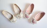 Free shipping childrens girl flower girl heat shape rhinestone beading bowknot  princess shoes