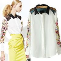 2014 European Manufacturers Direct Printing Stitching Lapel Shoulder Lace Blouse Casual Women Shirt