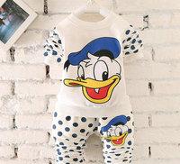 4set/lot wholesale long sleeve cartoon kids boy gril sweater trousers 2pcs set Donald Duck children sets clothes