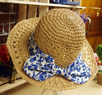 Fashion wholesale wide brim straw hat jeans bow sunhat travel hat beach hat cap travel accessories folded hat