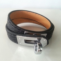 Gorgeous Thin Size Double Tour Genuine Leather Bracelet,6 Color Calfskin Leather With Silver Buckle,An Elegant Leather Gift